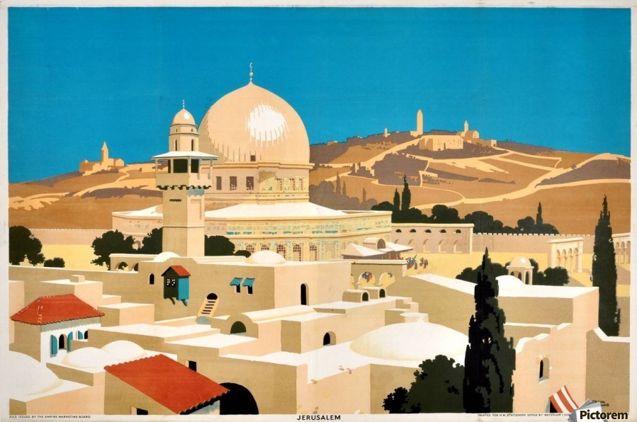 1920 Original Empire Marketing Board Poster for Jerusalem  Print